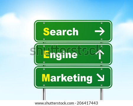 3d search engine marketing road sign isolated on blue background - stock photo