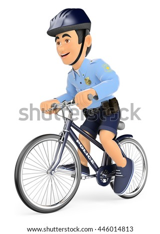 3d security forces people illustration. Policeman on bicycle. Isolated white background. - stock photo
