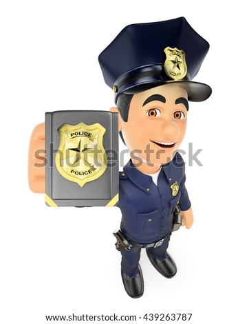 3d security forces people illustration. Policeman showing police badge. Isolated white background. - stock photo