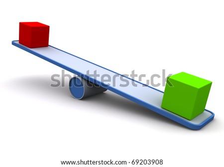 3D Seesaw / balance concept - stock photo
