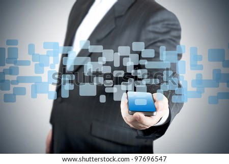 3D selection coming out from touch screen mobile phone. - stock photo