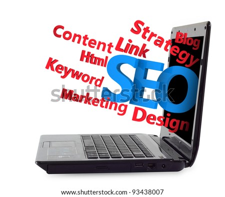 3d SEO flow chart ejected from the Laptop. isolated on white - stock photo