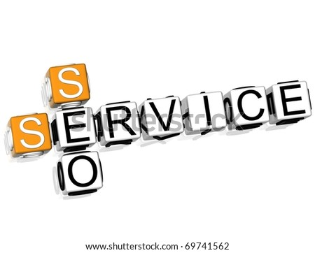 3D Seo Service Crossword - stock photo