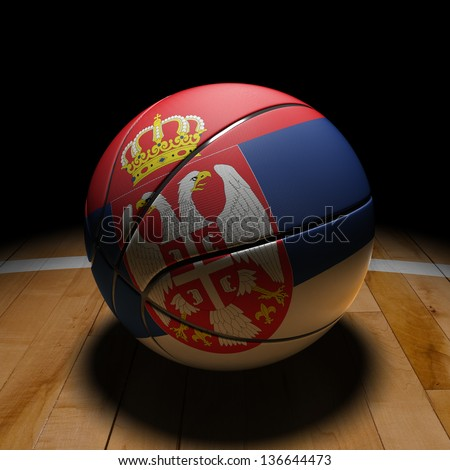 3D Serbia basket ball with dramatic light on basketball court. - stock photo