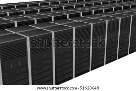 3D server farm computer illustration design - stock photo