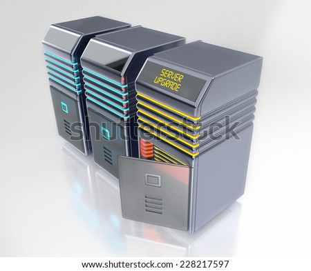 3d Servers maintenance and upgrade concept - stock photo