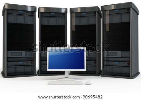 3d servers with computer terminal on white background - stock photo