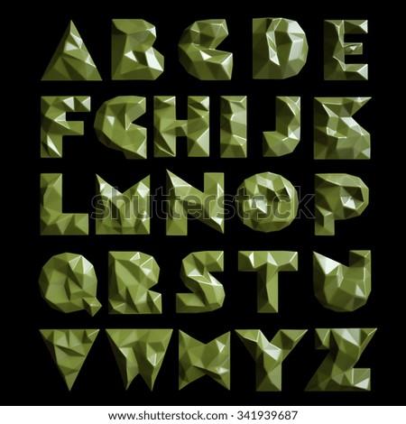 3d set geometric shapes alphabet letters. High resolution - stock photo