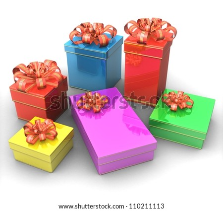 3d Set of gift boxes - stock photo
