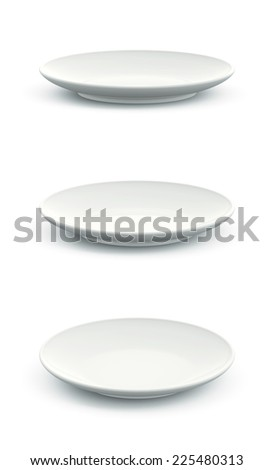 3D Set of White Sphere Dish plate on white background. Isolated - stock photo