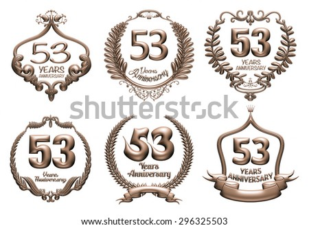 3D set of 53 years anniversary elements on isolated white background. - stock photo