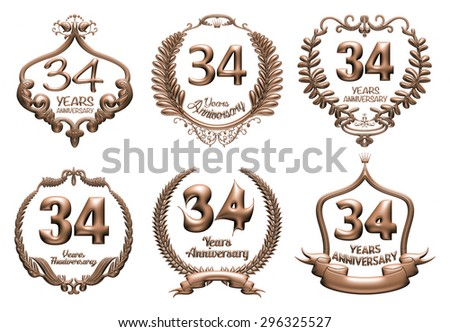 3D set of 34 years anniversary elements on isolated white background. - stock photo