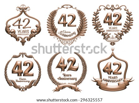 3D set of 42 years anniversary elements on isolated white background. - stock photo