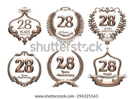 3D set of 28 years anniversary elements on isolated white background. - stock photo