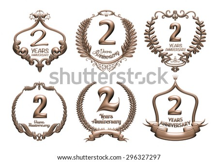 3D set of 2 years anniversary elements on isolated white background. - stock photo