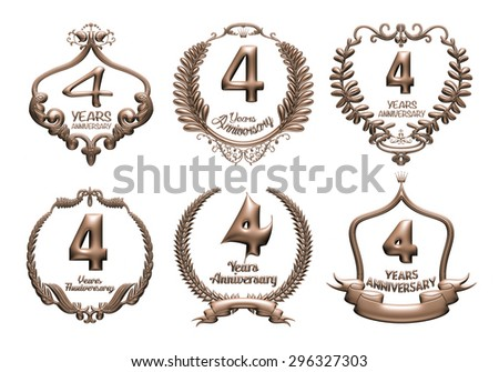 3D set of 4 years anniversary elements on isolated white background. - stock photo