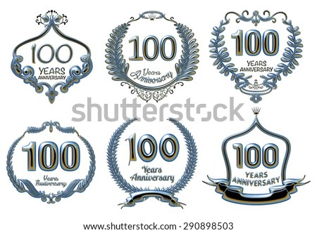 3D set of 100 years anniversary signs on isolated white. - stock photo