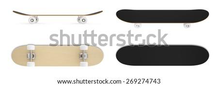 3d set skateboard isolated on white background. - stock photo