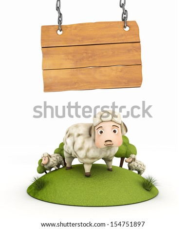3d sheep with wooden frame - illustration isolated - stock photo