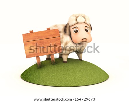3d sheep with wooden frame - isolated illustration - stock photo