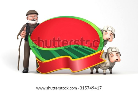 3d sheepman and sheep with board Sacrifice Feast  - stock photo