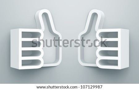 "3D shelves design form "" like "" or two thumb up on white background - stock photo"