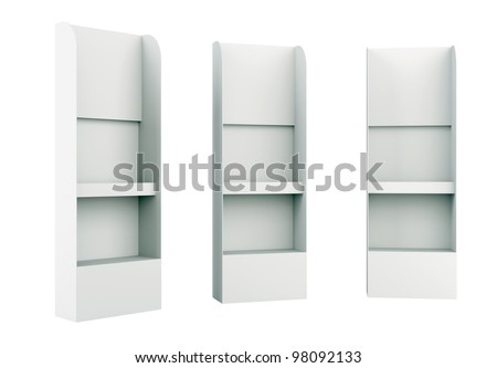 3D shelves display Gondola wire wing panel. on background isolated - stock photo