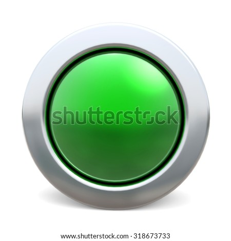 3d shiny button - green version - stock photo