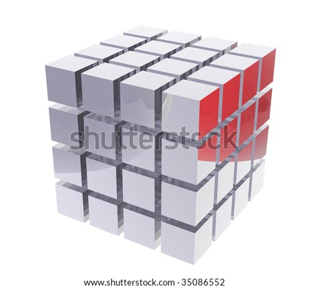 3D shiny cubes illustration render - stock photo