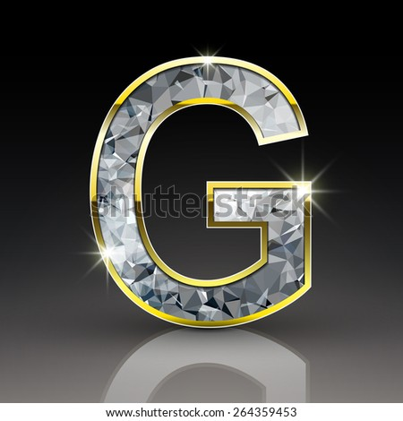 3d shiny diamond letter G isolated on black background - stock photo