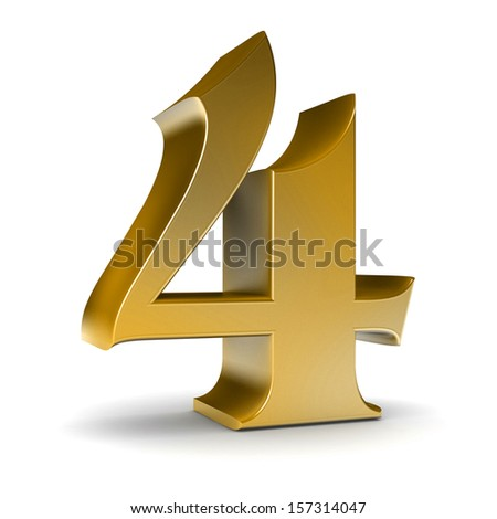 3d shiny gold number collection - stock photo