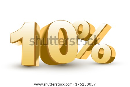 3d shiny golden discount collection - 10 percent isolated white background - stock photo
