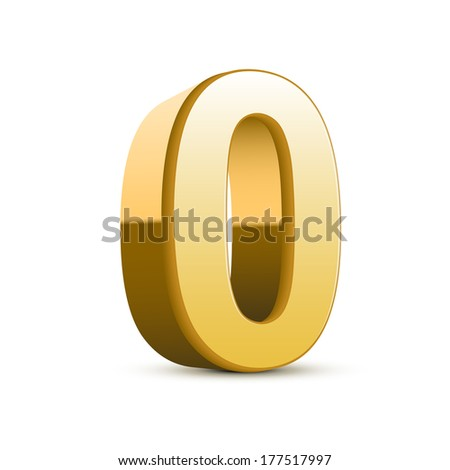 3d shiny golden number 0 on white background - stock photo