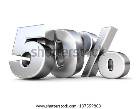 3d shiny metal discount collection - 50 percent - stock photo