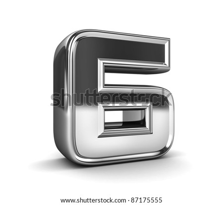 3D Shiny Metal Number Isolated - stock photo