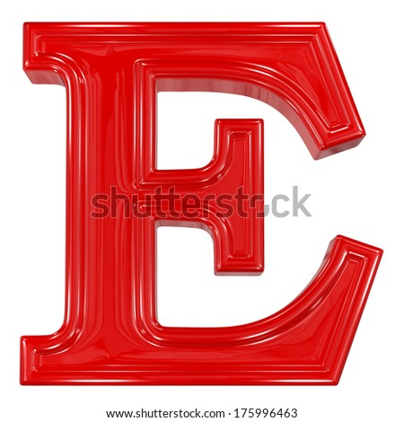 3d shiny red font made of plastic or ceramic - E letter - stock photo