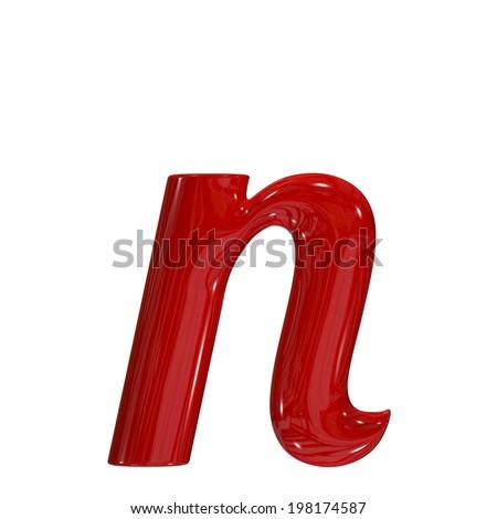 3d shiny red font made of plastic or ceramic - n lovercase letter - stock photo