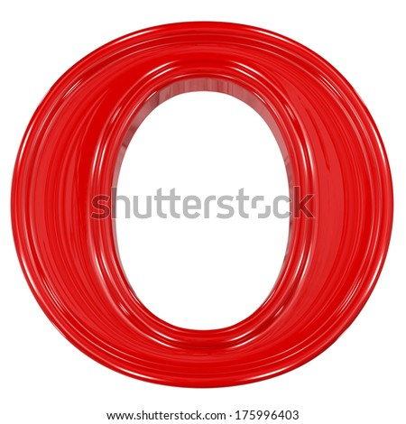 3d shiny red font made of plastic or ceramic - O letter - stock photo
