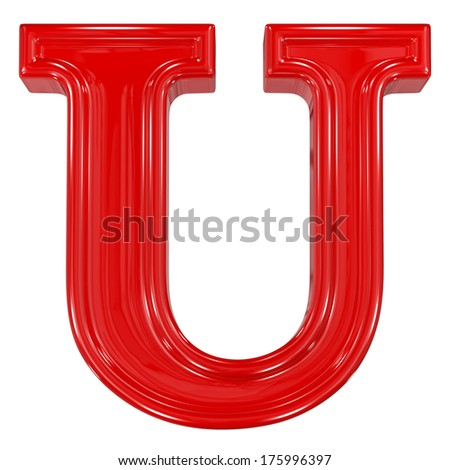 3d shiny red font made of plastic or ceramic - U letter - stock photo