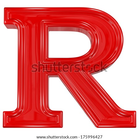 3d shiny red font made of plastic  - R letter - stock photo