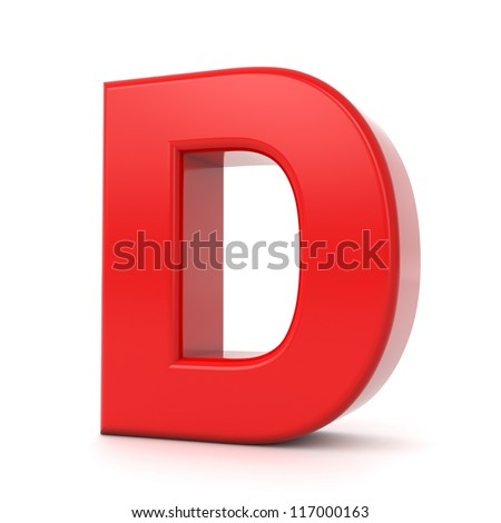 3d shiny red letter collection - D - stock photo