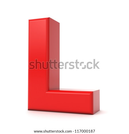 3d shiny red letter collection - L - stock photo