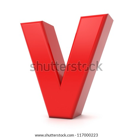 3d shiny red letter collection - V - stock photo