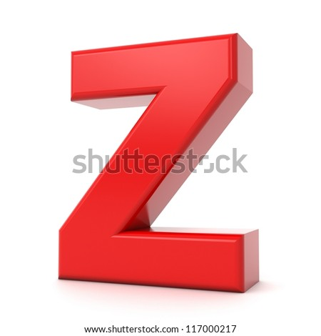 3d shiny red letter collection - Z - stock photo