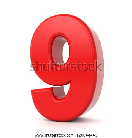 3d shiny red number collection - 9 - stock photo