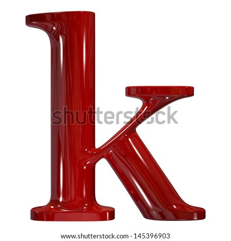 3d shiny red plastic ceramic letter collection - k - stock photo