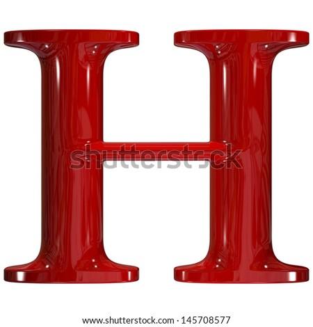3d shiny red plastic ceramic uppercase letter - H - stock photo