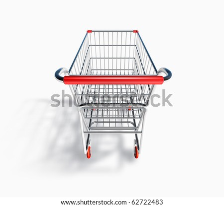 3D Shopping Cart Back View - stock photo
