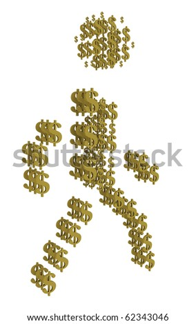 3D silhouette of golden bullion dollar view of human walking. - stock photo