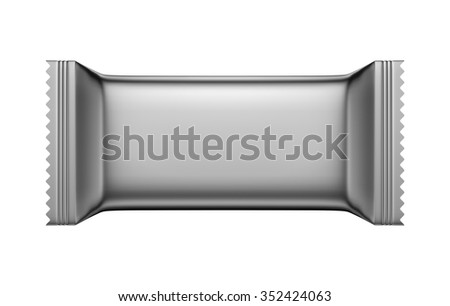 3D Silver Blank Sweet Snack packing design for wrappers, object isolated die cut - stock photo